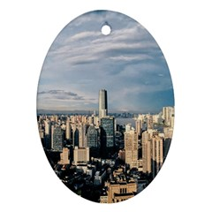 Shanghai The Window Sunny Days City Oval Ornament (two Sides)