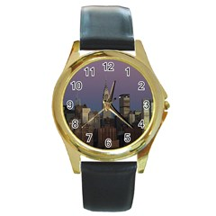 Skyline City Manhattan New York Round Gold Metal Watch