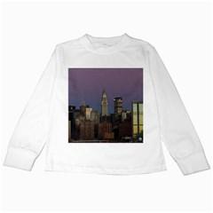 Skyline City Manhattan New York Kids Long Sleeve T Shirts