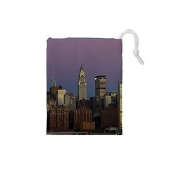 Skyline City Manhattan New York Drawstring Pouches (small)