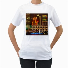 Shanghai Skyline Architecture Women s T Shirt (white) (two Sided)
