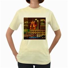 Shanghai Skyline Architecture Women s Yellow T Shirt