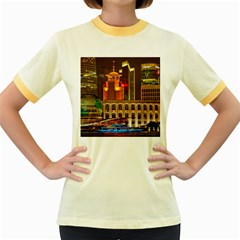 Shanghai Skyline Architecture Women s Fitted Ringer T Shirts