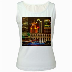 Shanghai Skyline Architecture Women s White Tank Top