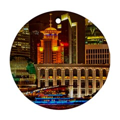 Shanghai Skyline Architecture Round Ornament (two Sides)