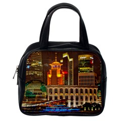 Shanghai Skyline Architecture Classic Handbags (one Side)