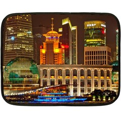 Shanghai Skyline Architecture Fleece Blanket (mini)