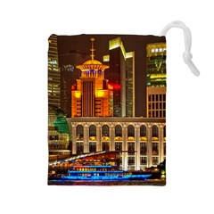 Shanghai Skyline Architecture Drawstring Pouches (large)
