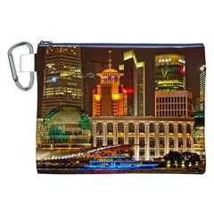 Shanghai Skyline Architecture Canvas Cosmetic Bag (xxl)