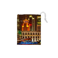 Shanghai Skyline Architecture Drawstring Pouches (xs)