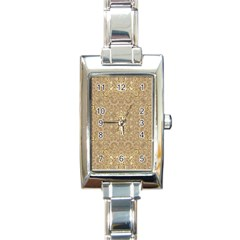 Ornate Golden Baroque Design Rectangle Italian Charm Watch