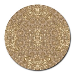 Ornate Golden Baroque Design Round Mousepads