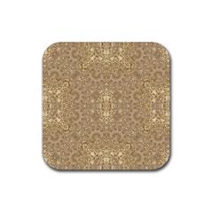 Ornate Golden Baroque Design Rubber Coaster (square)