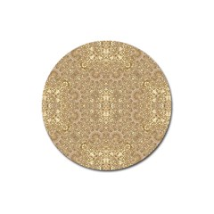 Ornate Golden Baroque Design Magnet 3  (round)
