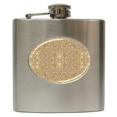 Ornate Golden Baroque Design Hip Flask (6 Oz)