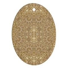 Ornate Golden Baroque Design Oval Ornament (two Sides)