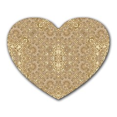 Ornate Golden Baroque Design Heart Mousepads