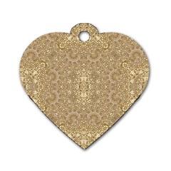 Ornate Golden Baroque Design Dog Tag Heart (two Sides)