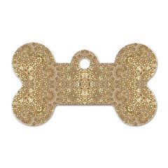 Ornate Golden Baroque Design Dog Tag Bone (one Side)