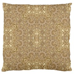 Ornate Golden Baroque Design Large Flano Cushion Case (two Sides)