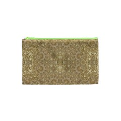 Ornate Golden Baroque Design Cosmetic Bag (xs)