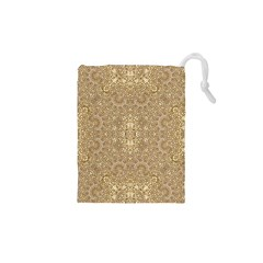 Ornate Golden Baroque Design Drawstring Pouches (xs)
