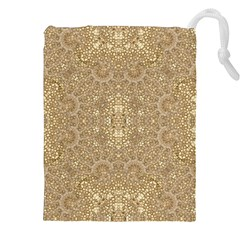 Ornate Golden Baroque Design Drawstring Pouches (xxl)