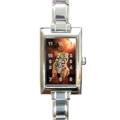 Cute Little Tiger Baby Rectangle Italian Charm Watch