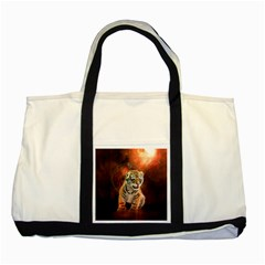 Cute Little Tiger Baby Two Tone Tote Bag