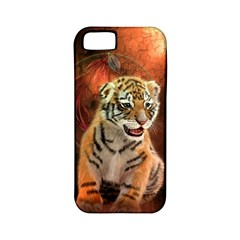 Cute Little Tiger Baby Apple Iphone 5 Classic Hardshell Case (pc+silicone)