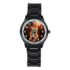 Cute Little Tiger Baby Stainless Steel Round Watch