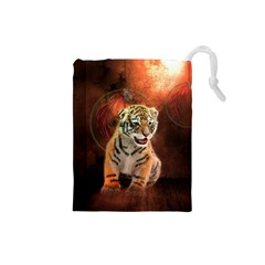 Cute Little Tiger Baby Drawstring Pouches (small)
