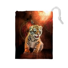 Cute Little Tiger Baby Drawstring Pouches (large)