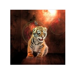 Cute Little Tiger Baby Small Satin Scarf (square)