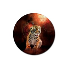 Cute Little Tiger Baby Rubber Coaster (round)