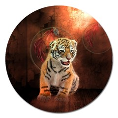Cute Little Tiger Baby Magnet 5  (round)