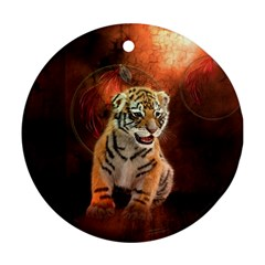 Cute Little Tiger Baby Round Ornament (two Sides)