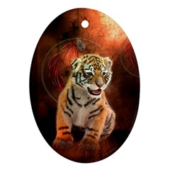 Cute Little Tiger Baby Oval Ornament (two Sides)