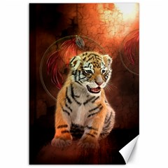 Cute Little Tiger Baby Canvas 12  X 18