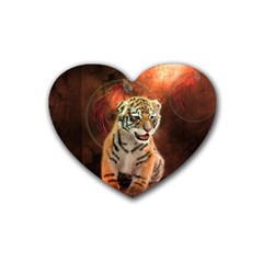 Cute Little Tiger Baby Heart Coaster (4 Pack)