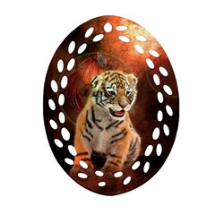 Cute Little Tiger Baby Oval Filigree Ornament (two Sides)