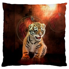 Cute Little Tiger Baby Large Flano Cushion Case (one Side)