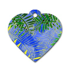 Tropical Palms Dog Tag Heart (two Sides)