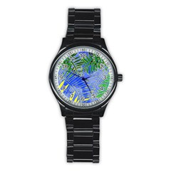 Tropical Palms Stainless Steel Round Watch