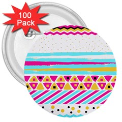 Tribal 3  Buttons (100 Pack)