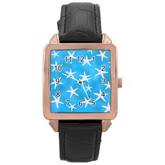 Star Fish Rose Gold Leather Watch