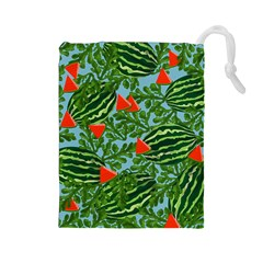 Juicy Watermelons Drawstring Pouches (large)