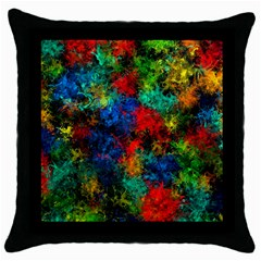 Squiggly Abstract A Throw Pillow Case (black)