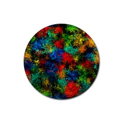 Squiggly Abstract A Rubber Round Coaster (4 Pack)