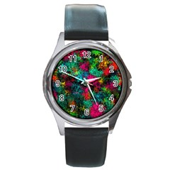 Squiggly Abstract B Round Metal Watch